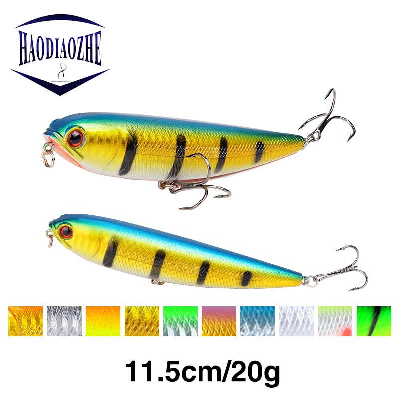 HAODIAOZHE Pencil Fishing Lure Hard Bait Artificial Crankbait With 2 Treble Hooks 11.5cm 20g Sinking Vibration Wobblers YU279