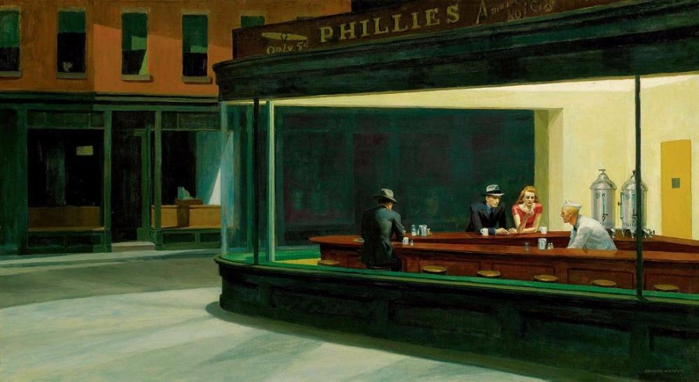 100% artista profesional hecho a mano, reproducción de pintura al óleo de alta calidad en lienzo de lino, Nighthawks, DHL gratis