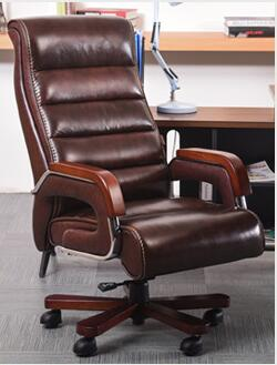 computer chair can lie lifting boss chair leather swivel chair High-grade leather computer chair family expenses can lie down massage boss swivel chair office chair seat.