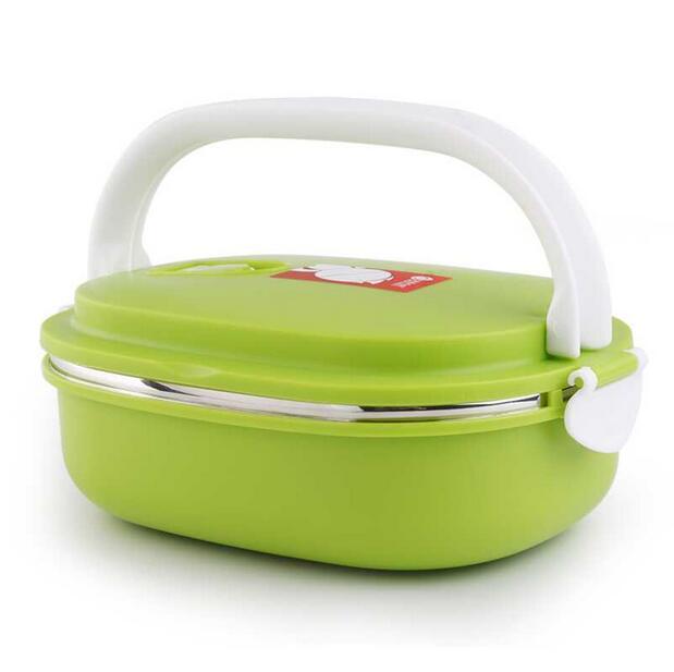 Caixa de isolamento retangular para bento, aparelho de jantar, talheres em óculos, lancheira para comida com recipientes, faqueinóx