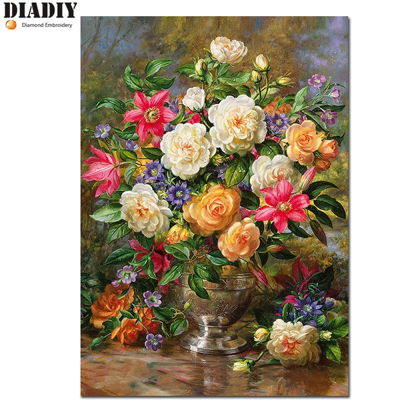 5D Round diamond peony painting diy diamond painting embroidery cross stitch Home Decor Full dimond mosaic Flower Vase