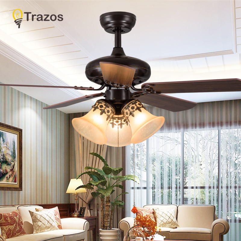 TRAZOS الحديثة 42 بوصة الحديد شفرة الأسود مراوح السقف مع أضواء التحكم عن بعد ضوء السقف مروحة بمصباح Ventilador دي تيتو