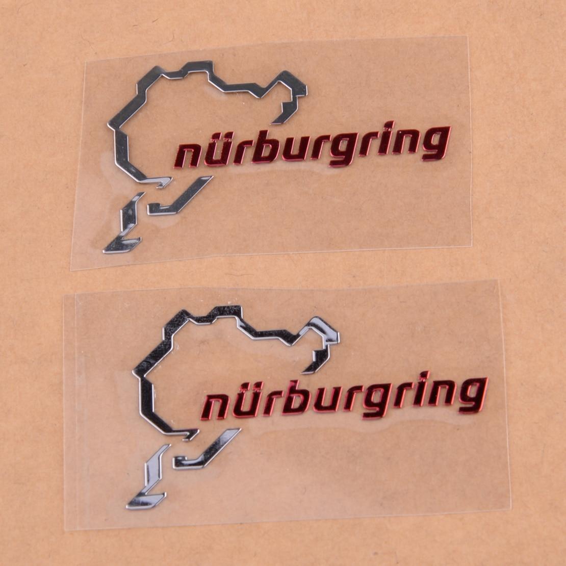 beler 2pcs Polished Chrome Nurburgring Motor Sport Car Emblem Sticker Decal Logo Accessories