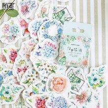 46 pièces/paquet fleurs et plantes succulentes bricolage autocollants décoratifs Scrapbooking journal Album décor bâton étiquette
