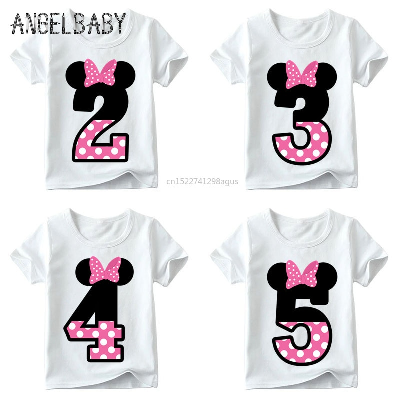 Одежда для маленьких мальчиков и девочек с милым принтом и надписью «Happy Birthday», Детская забавная футболка, подарок на день рождения для детей 1-9 лет, ooo2416