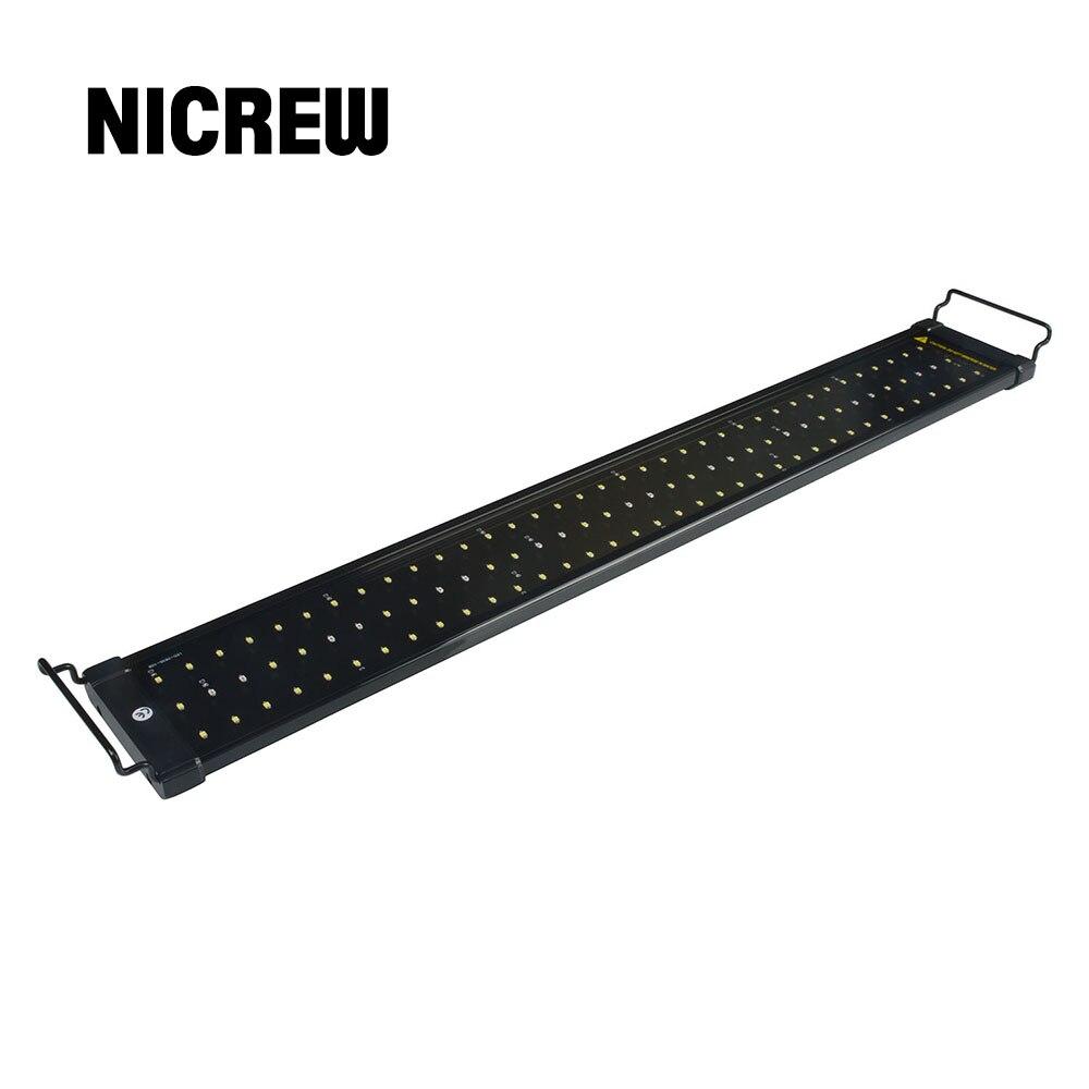 Nicrew 53-150 سنتيمتر حوض السمك LED الإضاءة خزان الأسماك ضوء مصباح مع الأقواس قابلة للتمديد 90 الأبيض و 18 المصابيح الزرقاء يناسب ل حوض السمك