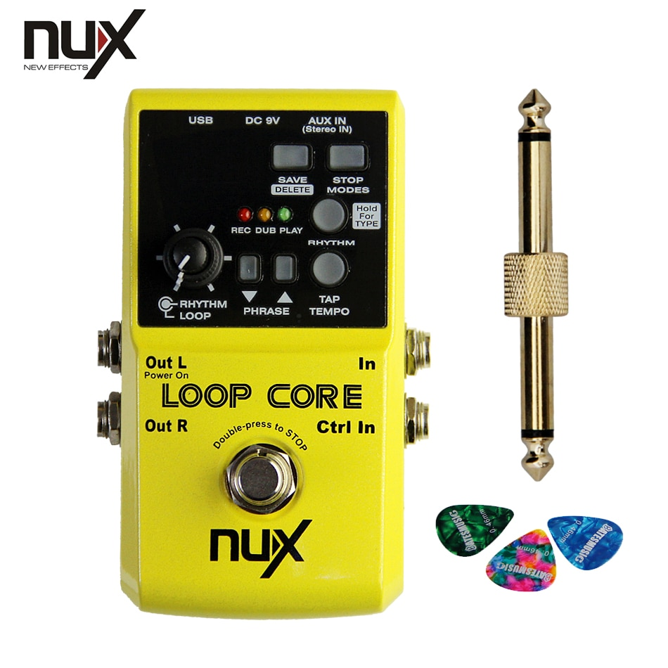 NUX Loop Core Violao Guitar Effect Pedal Looper Pedals Recording Time Built-in Drum Patterns +1 pc pedal connector +3 picks