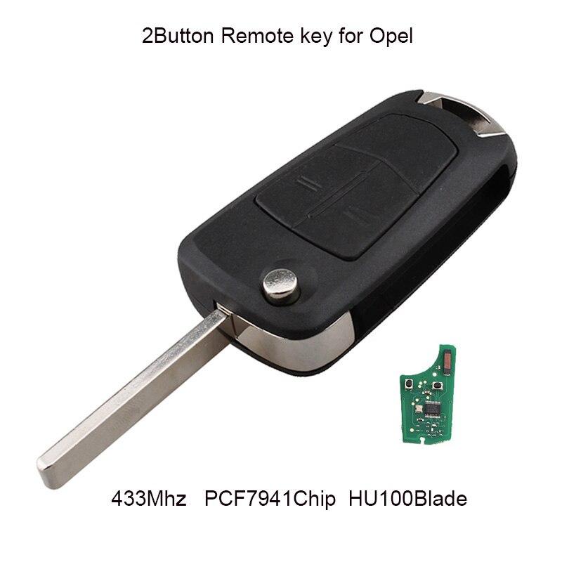 Llave de coche con tapa de 2 botones GORBIN para Vauxhall Opel Astra H 2004 -2009 llave de coche remota inteligente PCF7941 Chip HU100 llaves originales