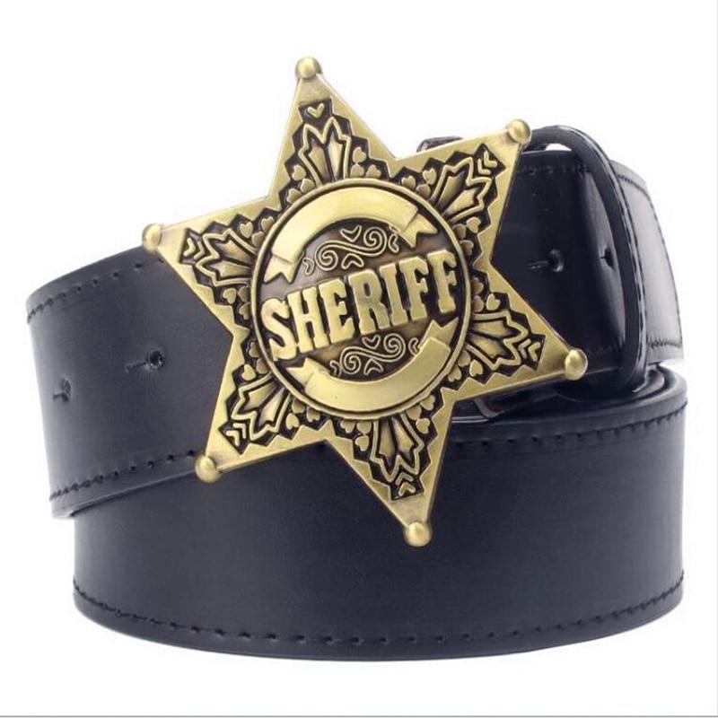 Fashion Mens belt metal buckle belts Sheriff badge Retro Hexagon star sign western style cowboy Pu leather belt