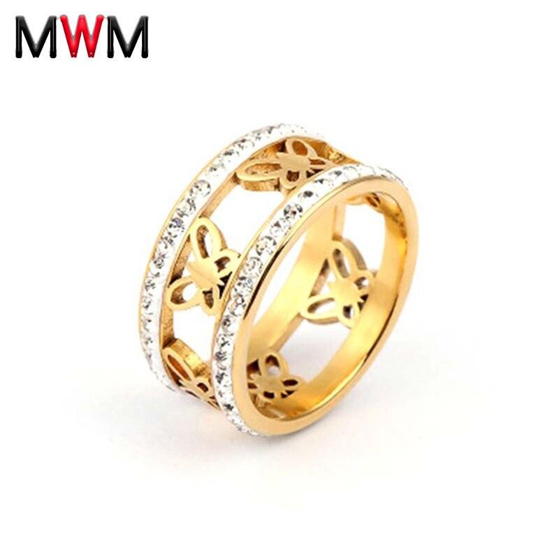 MWM Flor del corazón con anillo de cristal para las mujeres de acero inoxidable anillo de bodas dorado anillo de compromiso de amor femenino joyería animal planta