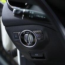 Couvercle de commutateur de phare en fibre de carbone pour W176 W246 W204 W212 E350 X204 Mercedes Benz A B C E GLK GL ML autocollant de boutons de lumière principale