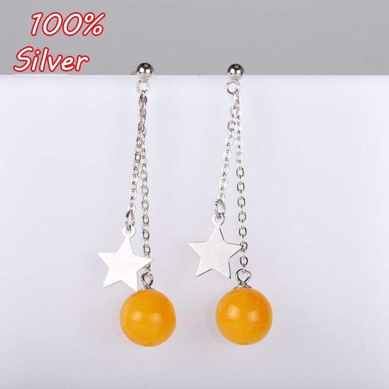 100% Sterling-Silver Color  Dangle Earrings Inlaid 6MM-10MM Wax Amber Earrings for Women Fine Jewelry Setting