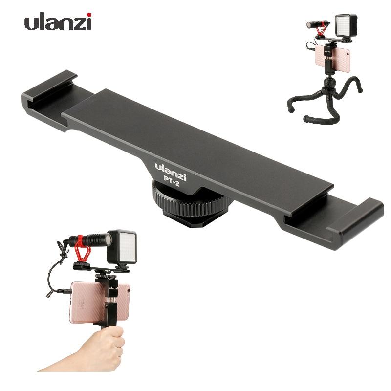 Ulanzi PT-2 Kalten Schuh Platte Verlängerung Halterung Adapter Stativ Dual Mount für Telefon Vlogging Rig Setup Mikrofon/LED Video licht