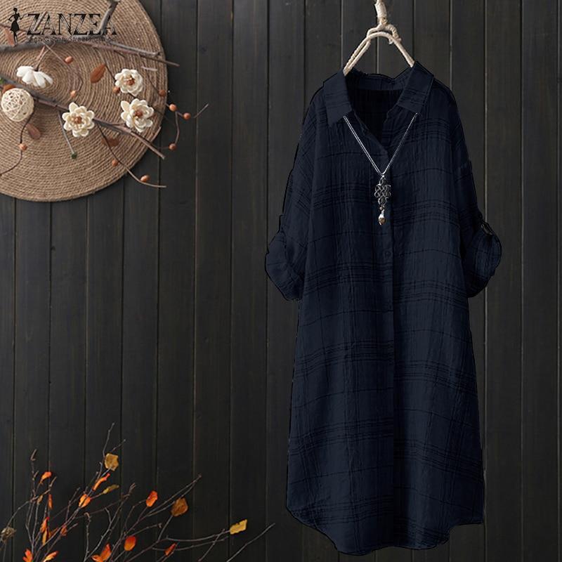 Zanzea moda mujer otoño cuello de solapa de manga larga Vintage a cuadros algodón Lino blusa Casual Retro Tops Vestido de Camisa larga