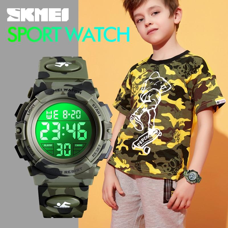 Moda SKMEI relojes de deporte de los niños reloj de 5bar impermeable colorido luces 12/24 horas camuflaje reloj infantil 1548 Niño