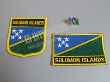 Patches Bordados Da Bandeira nacional e de Metal Pin de Lapela Bandeira DAS ILHAS SALOMÃO