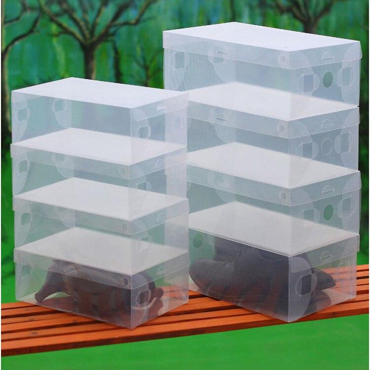 10pcs crianças/mulheres/homens DIY Dobrável Clamshell Caixa De Sapatos Botas de Sapatos De Armazenamento Transparente Organizar Caixa de Acabamento De Plástico Colorido