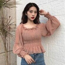2018 fashion Women Blouse shirts Autumn new women's clothing Slash neck lantern sleeves chiffon shirt