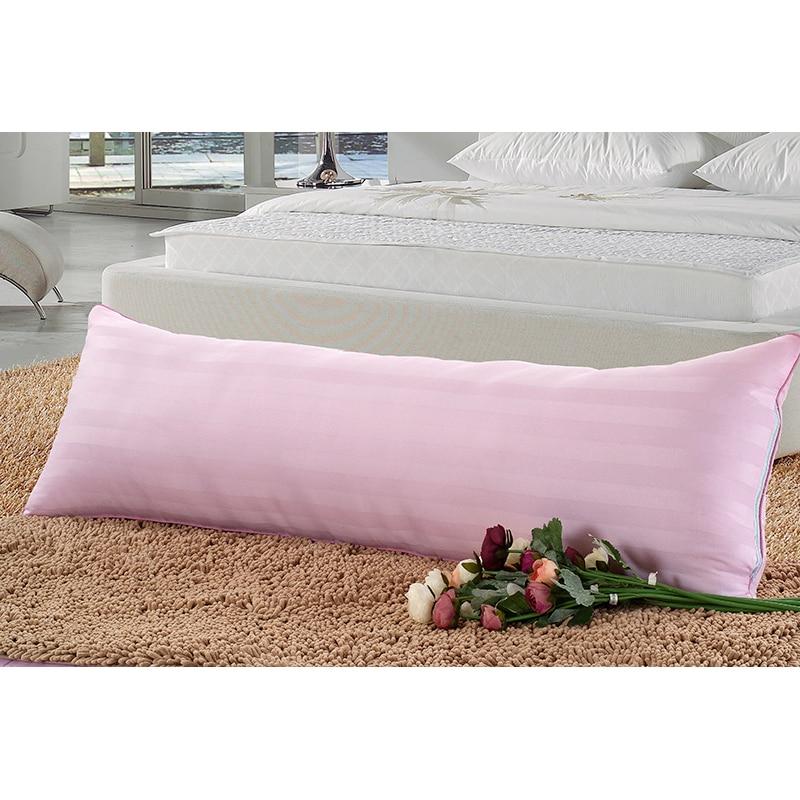 Cama travesseiro de corpo de dois pescoço travesseiro 100% algodão travesseiro de pescoço de saúde 48 * 150 cm de rosa