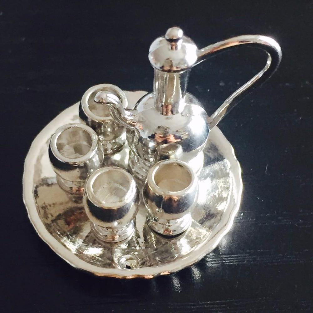 Miniaturas casa de bonecas 112 mini jantar ware ouro prata prato/copo/placa chá conjunto para casa boneca cozinha acessório