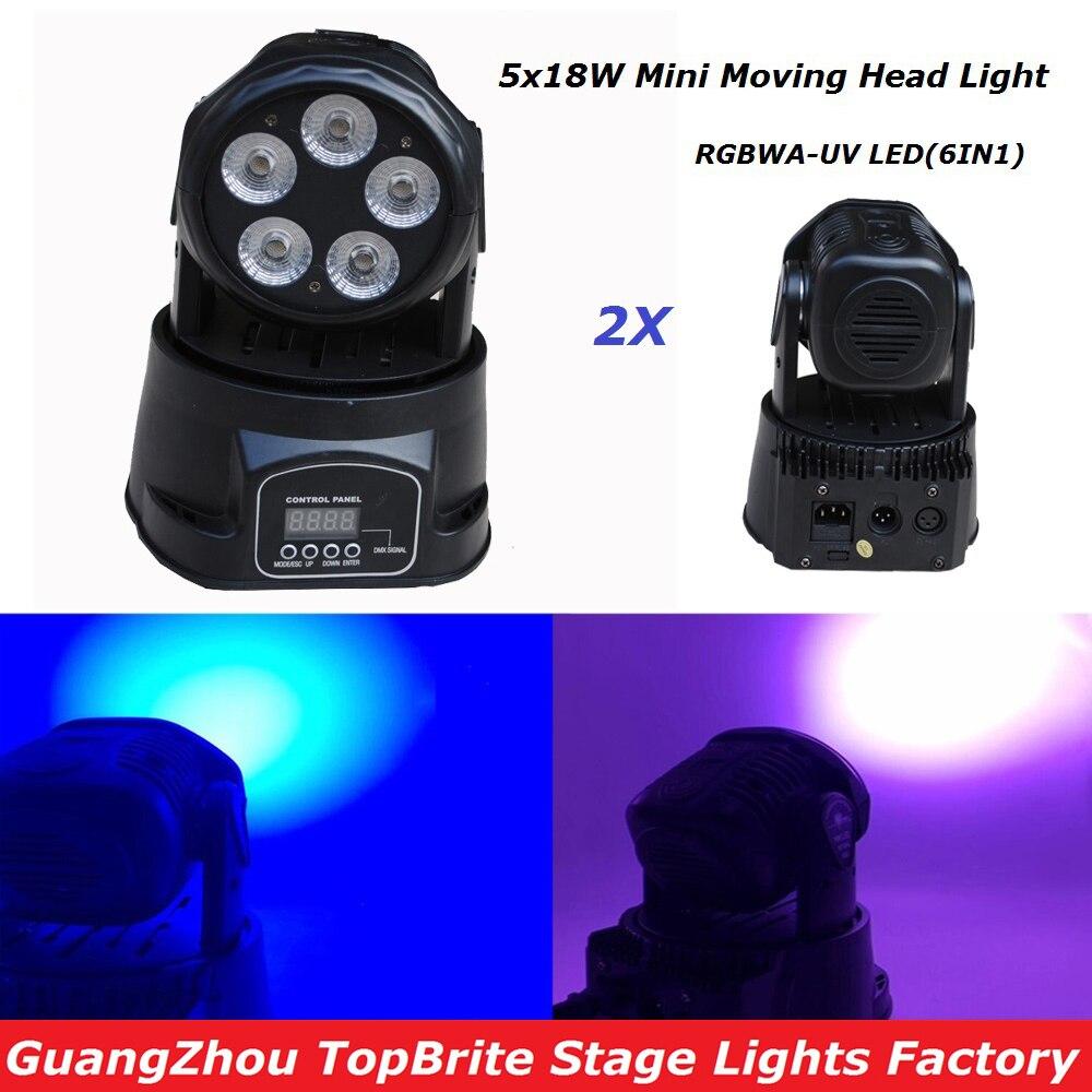Nouveau 2 Pcs/Lot 5*18 W 6IN1 rgbaw-uv Mini LED lumière de lavage de tête mobile, lumière de faisceau de tête mobile détape 90 W pour la fête de mariage de Disco de DJ