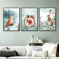 nordic decoration home art poster simple forest small animal cartoon fox rabbit canvas painting childs room decor wall pictures