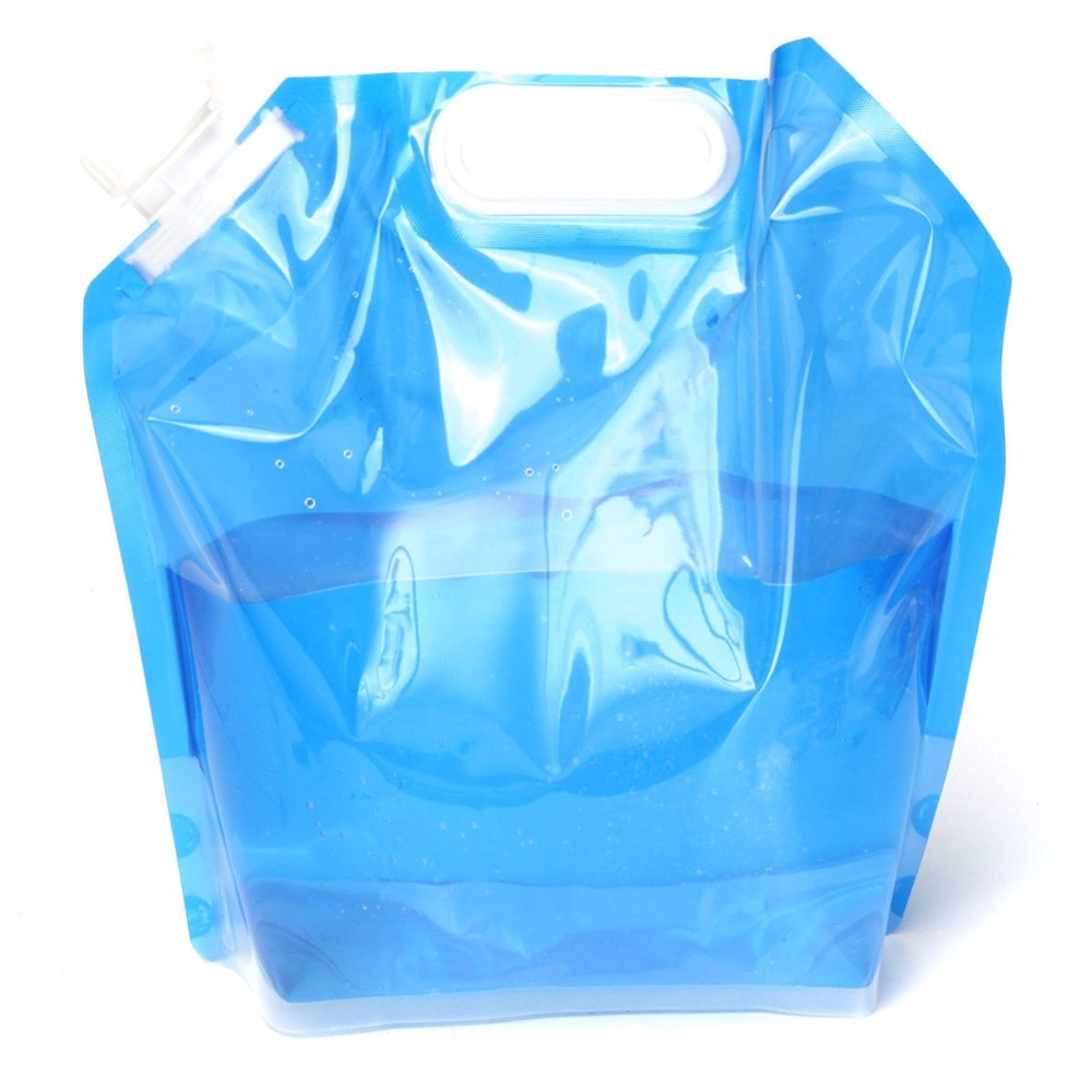 Bolsa para agua y bebidas plegable de 5L, contenedor de agua portátil,...