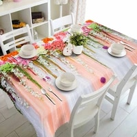 meijuner wedding party decor customize 3d tablecloth colored flower pattern dustproof rectangular table cloth home decoration