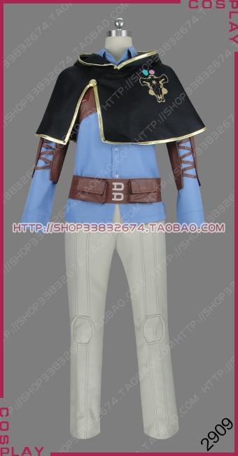 Trébol negro Cuarteto caballeros Caballero mágico Toro Negro Gauche Adlai uniforme traje Cosplay S002
