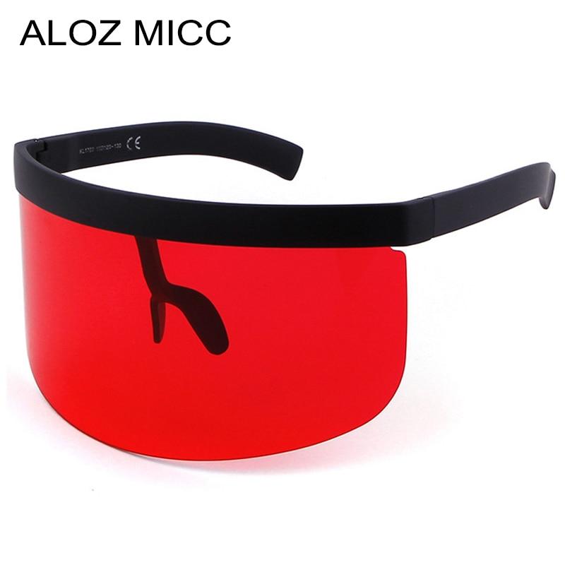 ALOZ MICC Sunglasses Women Fashion Flat Top Oversize Shield Visor Sunglasses Men Windproof Goggles UV400 Q4391