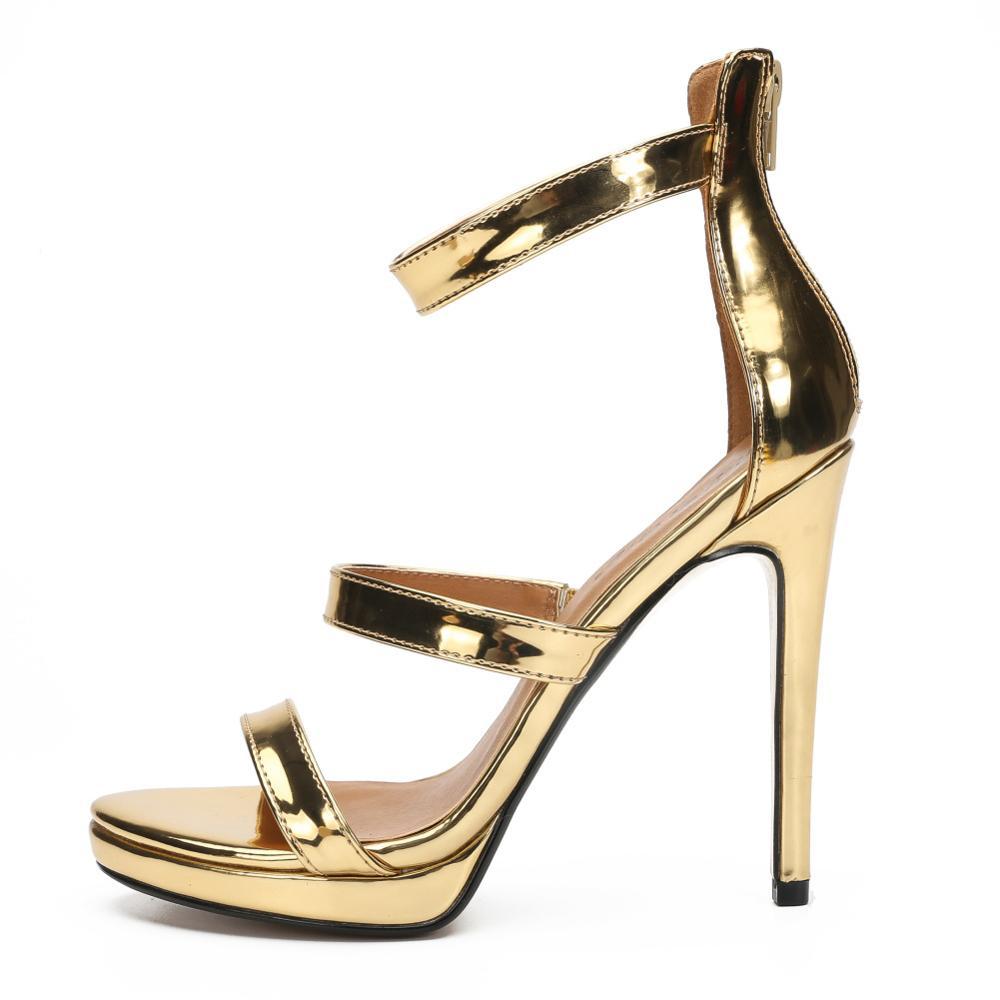 ¡Novedad de 2020! Sandalias sexis de talla grande 48 50 para mujer, sandalias de verano de tacón alto a la moda con tiras de tobillo, tacones rojos dorados, zapatos para fiesta o boda