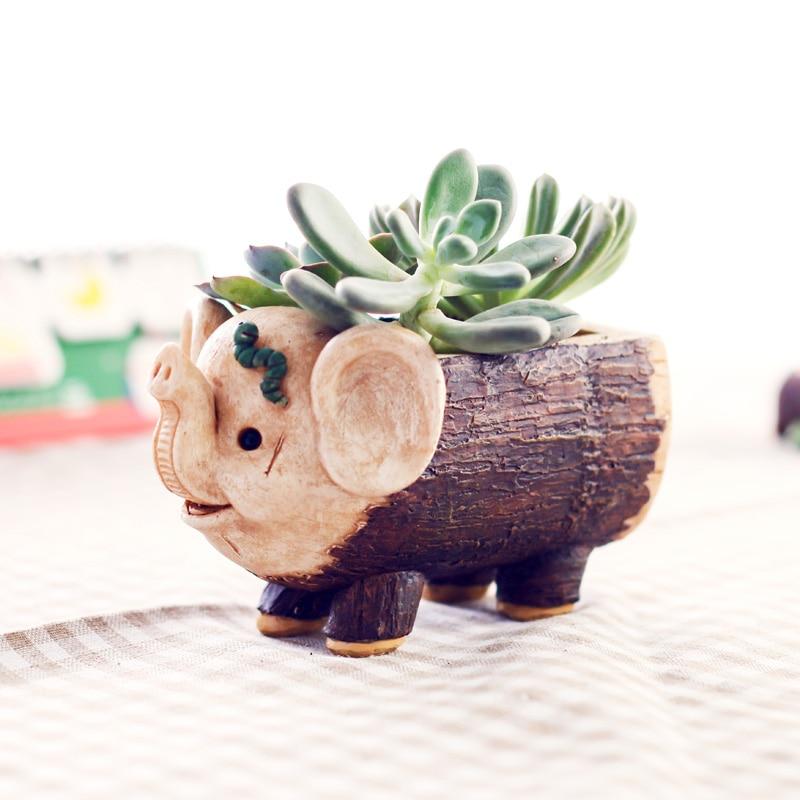 Creativa animales de dibujos animados elefante diseño de cerdo resina de maceta de madera macetas microadornos para paisajismo plantador para interior