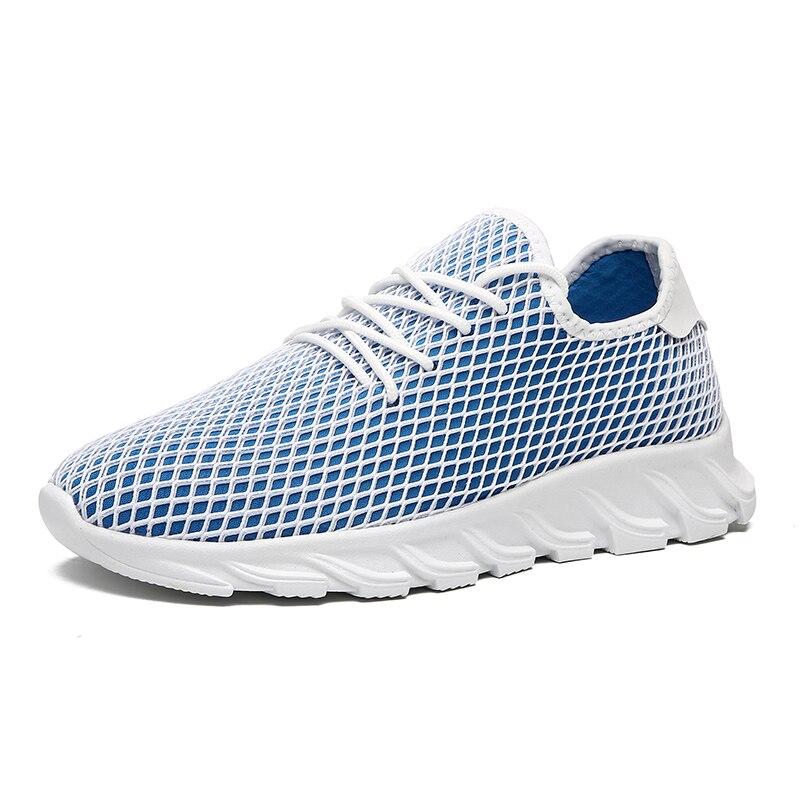 Tenis Masculino 2019 hombres transpirable malla Deporte Zapatos hombres zapatos Tenis estabilidad masculina Atlético Fitness zapatillas hombres azul entrenadores