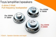 High quality 2PCS! 4 Ohm 3 watt speaker! Dia 36/40MM,Toys/amplifier/speakers full frequency Connectors 4R3W Magnet Speaker
