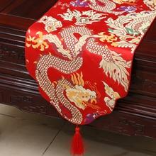Verdicken Drachen Chinesische Seide Satin Tisch Läufer Hohe Ende Hohe dichte Damast Bankett Tisch Tuch Rechteckigen Tisch Matte