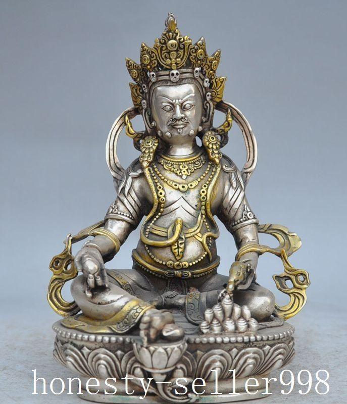 home decor Chinese Tibetan Buddism temple silver copper Yellow Jambhala Vajra Buddha statue