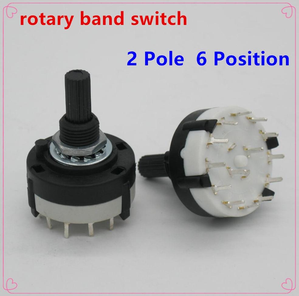 Высококачественный переключатель RS26 2 Pole Position 6, 2 шт., выбор диапазона, переключатель поворотного канала, однослойный поворотного переключатель диапазонов