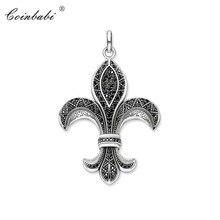 Wisiorek Bourbon lily fleur-de-lis 925 srebro czarny na prezent dla mężczyzny Thomas Style Glam biżuteria wisiorek Fit naszyjnik z ogniwami