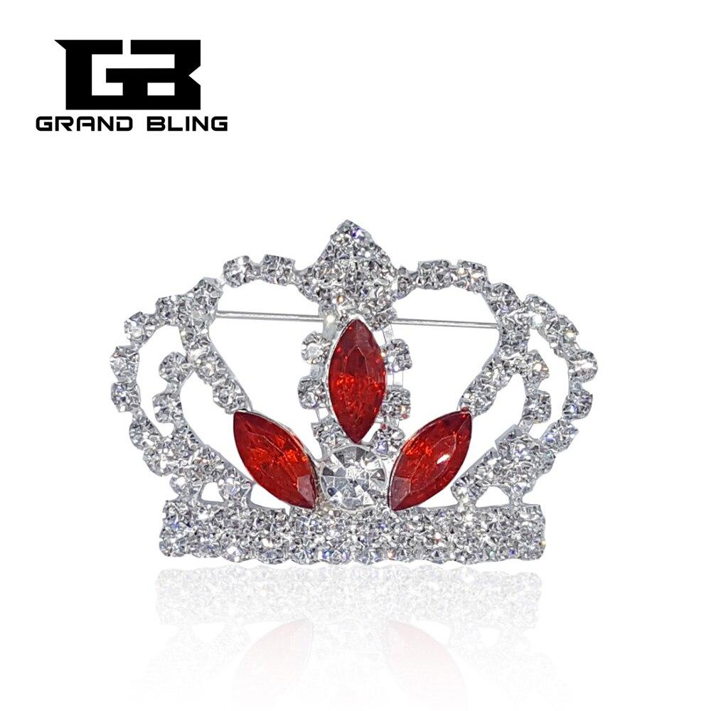 Broche couronne en strass Blingbling avec pierres ovales rouges pour dame reine