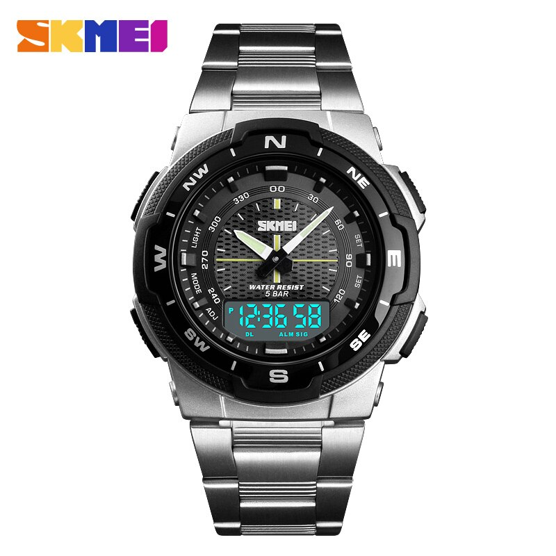 Reloj de moda SKMEI, reloj de cuarzo deportivo para hombre, relojes de marca superior de lujo de acero completo para negocios, reloj impermeable, reloj Masculino