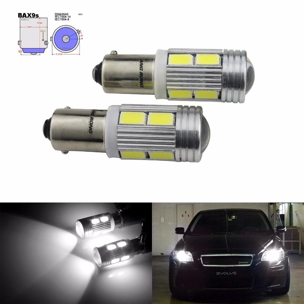 Bombilla LED ANGRONG 2x433 434 BAX9s H6W 10 SMD luces laterales de estacionamiento inverso (CA231x2)