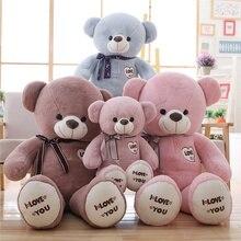 1PC 75/100cm Large Love Teddy Bear Plush Toy Cute Huge Stuffed Soft Bear Wear Bowknot Bear Kids Toy Birthday Gift For Girlfriend