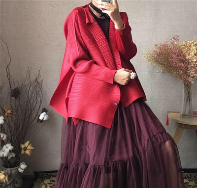Primavera estilo occidental mini-jaqueta miyake dobrado órgão dobrado topo solto estilo camisa menina