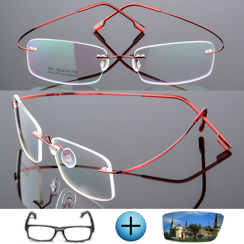 9 Colors Ultra-light Titanium Alloy Rimless Optical Frame Custom Made Prescription Glasses Photochro