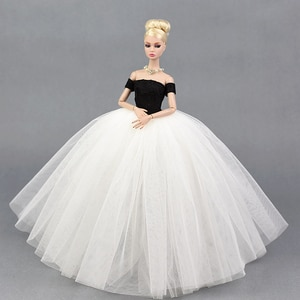 Dress + Veil / White & Black Evening Dress Gown Bubble skirt Clothing Outfit Accessories For 1/6 BJD Xinyi FR ST Barbie Doll