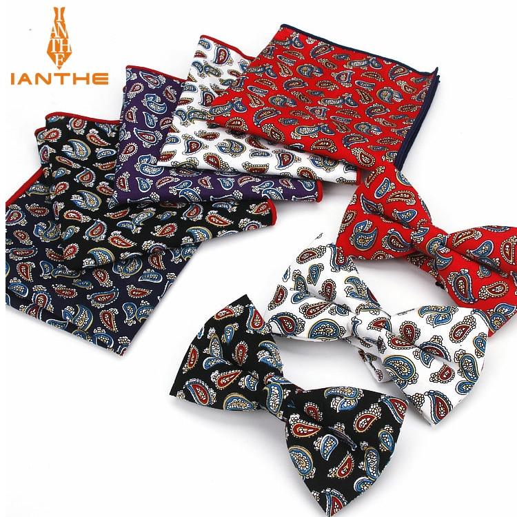 Nuevo 2 uds de algodón de los hombres ajustable trajes estampado de Cachemira corbata de pajarita pañuelo set de bolsillo a cuadros de la fiesta de la boda de la mariposa