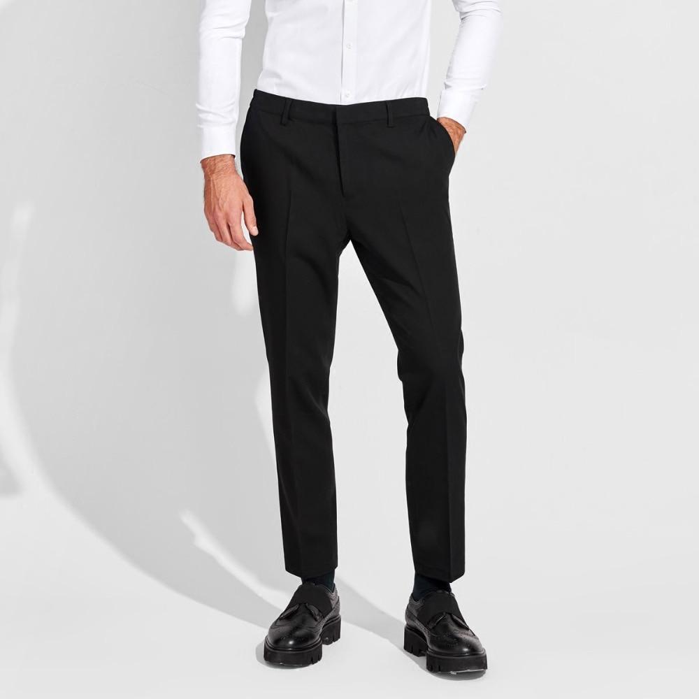 Pantalones a la altura del tobillo para hombre, color gris, azul, negro, elegante, informal, de verano, para hombre, pantalones ajustados, cintura elástica, ropa formal para hombre XS 2XL