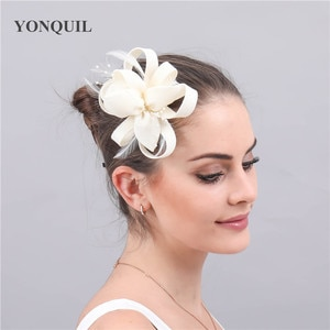 Imitation Sinamay Wedding Fashion Headwear Cocktail Elegant Fascinator Hat Hair Pin With Fancy Feather Hair Accessories Ladies