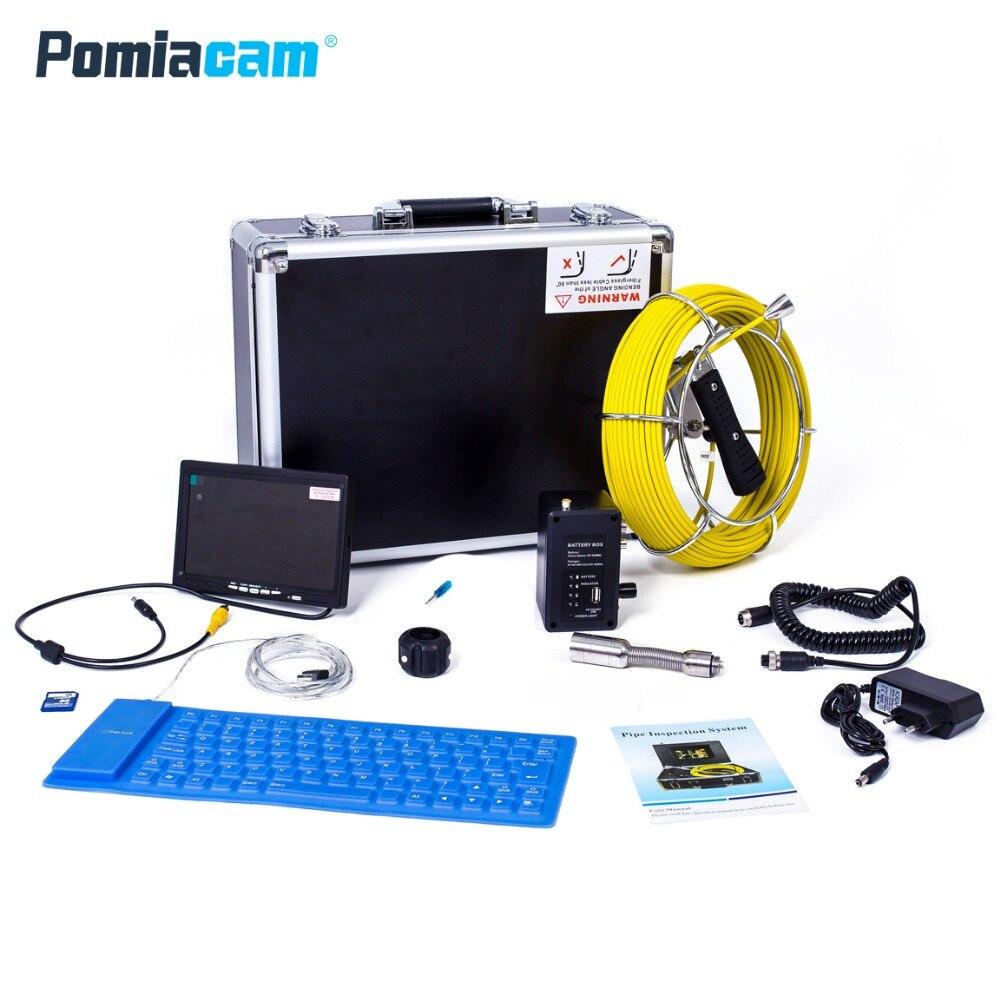 WP71 30M Cable 7 TFT LCD cámara de inspección de drenaje con DVR boroscopio tubo de alcantarillado cámara portátil caja de aluminio