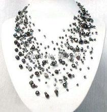 Großhandel freies verschiffen>> Charming Starriness Schwarz Zuchtperlen Halskette